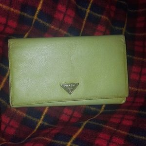 Long large lime green prada saffiano clutch wallet